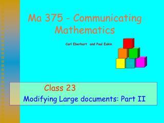 Ma 375 - Communicating Mathematics