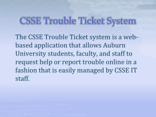 CSSE Trouble Ticket System