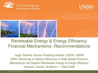 Renewable Energy & Energy Efficiency Financial Mechanisms:  Recommendations