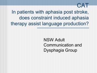 NSW Adult Communication and Dysphagia Group
