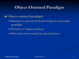 Object-Oriented Paradigm