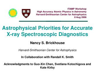 Astrophysical Priorities for Accurate X-ray Spectroscopic Diagnostics  Nancy S. Brickhouse  Harvard-Smithsonian Center f