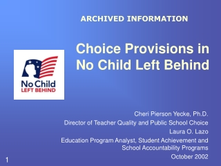Choice Provisions in No Child Left Behind