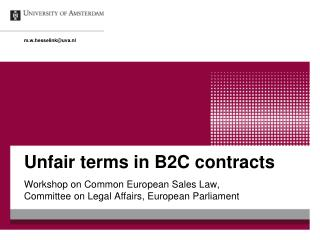 Unfair terms in B2C contracts