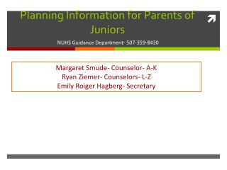 Planning Information for Parents of Juniors