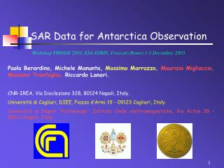 SAR Data for Antarctica Observation