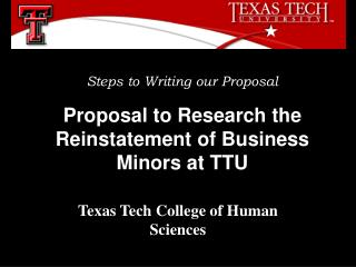 Proposal to Research the Reinstatement of Business Minors at TTU