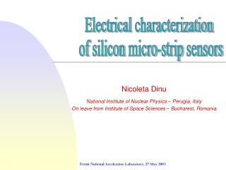 Nicoleta Dinu National Institute of Nuclear Physics – Perugia, Italy