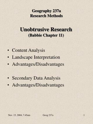 Unobtrusive Research (Babbie Chapter 11)