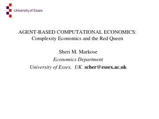 AGENT-BASED COMPUTATIONAL ECONOMICS: Complexity Economics and the Red Queen