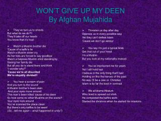 WON'T GIVE UP MY DEEN By Afghan Mujahida