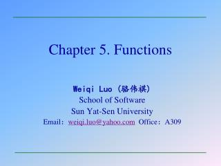 Chapter 5. Functions
