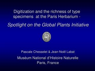 Digitization and the richness of type specimens  at the Paris Herbarium -