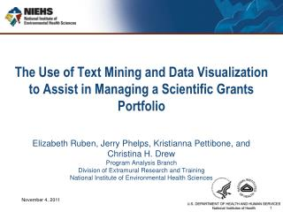 The Use of Text Mining and Data Visualization to Assist in Managing a Scientific Grants Portfolio