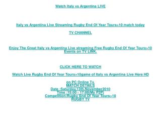 ALL LIVE RUGBY SoS Tv>>Italy vs Argentina Live RUGBY Tv Link