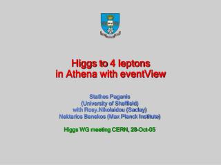 Higgs to 4 leptons  in Athena with eventView