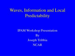 Waves, Information and Local Predictability