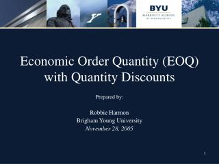 Economic Order Quantity (EOQ) with Quantity Discounts