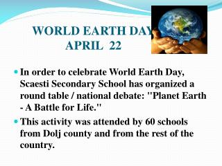 WORLD EARTH DAY APRIL  22
