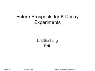 Future Prospects for K Decay Experiments