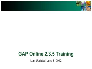 GAP Online 2.3.5 Training