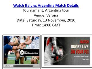 Watch Italy vs Argentina Rugby match of Argentina tour live