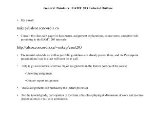 General Points re: EAMT 203 Tutorial Outline