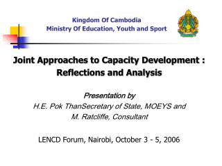 Kingdom Of Cambodia Ministry Of Education, Youth and Sport