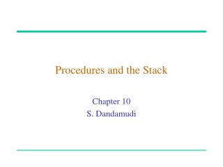 Procedures and the Stack