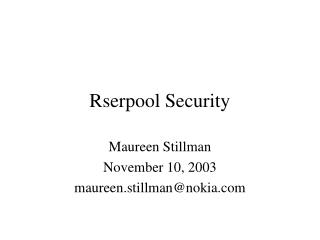 Rserpool Security