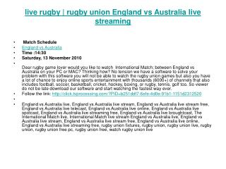 live rugby | rugby union England vs Australia live streaming