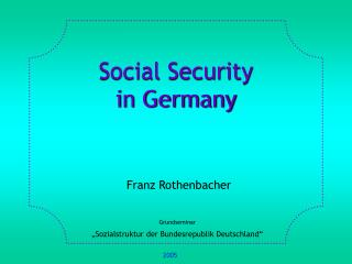 Social Security  in Germany