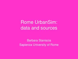 Rome UrbanSim:  data and sources