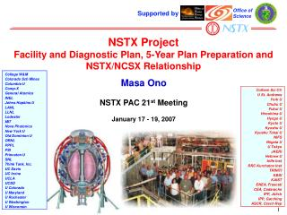 NSTX Project Facility and Diagnostic Plan, 5-Year Plan Preparation and NSTX/NCSX Relationship