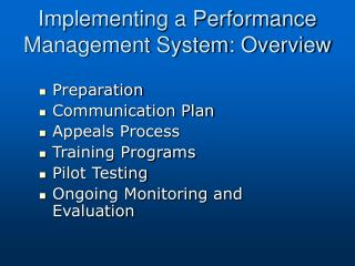 Implementing a Performance Management System: Overview