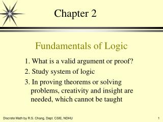 Fundamentals of Logic