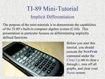 TI-89 Mini-Tutorial