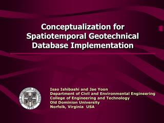 Conceptualization for  Spatiotemporal Geotechnical Database Implementation