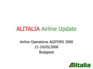ALITALIA Airline Update