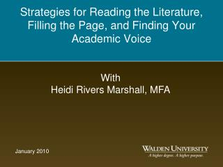 Strategies for Reading the Literature, Filling the Page, and Finding Your Academic Voice