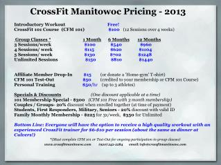 CrossFit Manitowoc Pricing - 2013