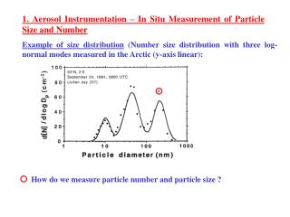1. Aerosol Instrumentation – In Situ Measurement of Particle Size and Number