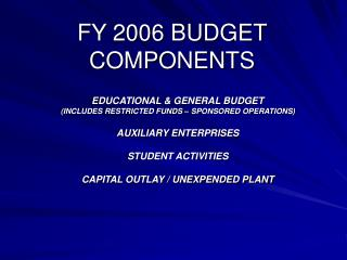 FY 2006 BUDGET COMPONENTS
