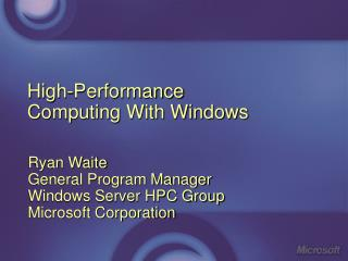 High-Performance Computing With Windows