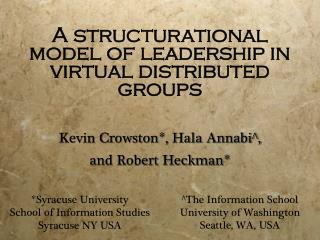 A structurational model of leadership in virtual distributed groups