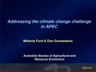 Addressing the climate change challenge in APEC