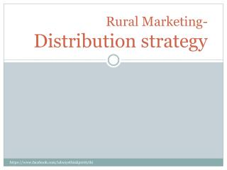 Rural Marketing-  Distribution strategy