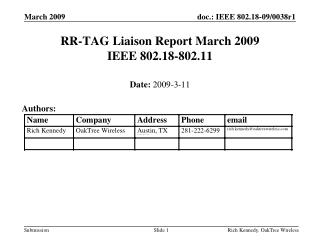 RR-TAG Liaison Report March 2009 IEEE 802.18-802.11