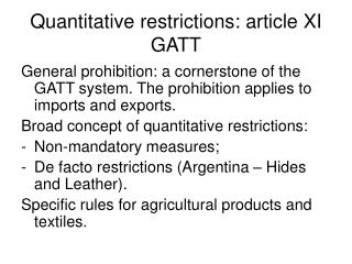 Quantitative restrictions: article XI GATT