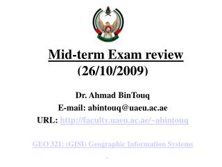 Mid-term Exam review (26/10/2009)